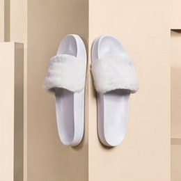 Wholesale Wholesaler Slippers - Leadcat Fenty Rihanna Shoes Women Slippers Indoor Sandals Girls Fashion Scuffs Pink Black White Grey Fur Slides Without Box with dust bag