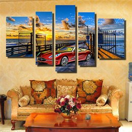 Wholesale Large Sunset Canvas - Fashion Canvas Painting Beautiful sunset Pictures painted On Canvas Large 5 Piece Wall Pictures For Living Room Bedroom Office