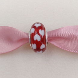 Wholesale Lampwork Red White Bead - Authentic 925 Sterling Silver Beads Red And White Heart Murano Charm Fits European Pandora Style Jewelry Bracelets & Necklace 790948 glass