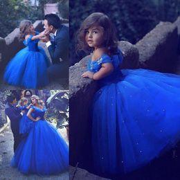 2019 robe de demoiselle de princesse en cristal Royal Blue Princess robes de demoiselle d'honneur de mariage Puffy Tutu épaule scintillant cristaux 2019 Toddler Little Girls Pageant Communion Dress robe de demoiselle de princesse en cristal pas cher