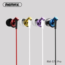 Wholesale Pro Mic Headset - In Stock Remax RM-575 pro HD Music Earphone with Mic Remote HiFi Stereo Sound In-ear Earbud Headset for HuaWei Xiaomi iPhone Mobile Phone