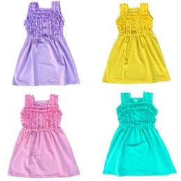 Wholesale Tutu Sellers Line - wholesale best seller baby girls button summer dress kids ruffle dresses kids cotton icing ruffle dress