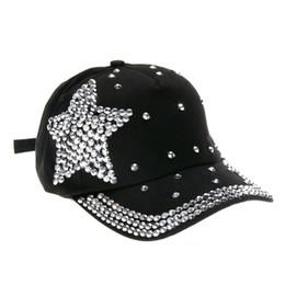 Wholesale Baseball Cap Shape - 2016 New Fashion Baseball Cap Rhinestone Star Shaped Boy Girls Snapback Hat Great Gift For Girls Free Shippikng DM#6