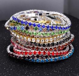 Wholesale Silver Stretch Rings - 50Pcs 3.6mm 1 Row Rhinestone Crystal Bracelets Stretch Bracelet Bangle Cuffs for Women Wedding Jewelry Gift 16 Colors 2017 Jewelry