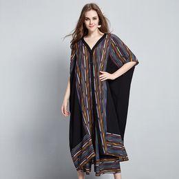 Wholesale Large Chiffon Pants - Wholesale- 2017 female new summer large size two-piece national stripes stitching chiffon urlarge batwing sleeve cardigan wide leg pants
