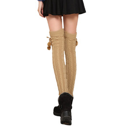 ball legs Promo Codes - Wholesale- Winter Warm Long Leg Warmers Solid Cable Knit Long Stocking Women Fashion Knee High Leg Stocking with Balls Boot Cuffs Gaiters
