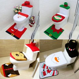 Wholesale Wholesale Padded Toilet Seats - Christmas Decor Toilet Foot Pad Seat Cover Cap Santa Toilet Seat Cover Rug Bathroom Set 4 Styles Cute Patterns Toilet Seat Cover YFA18
