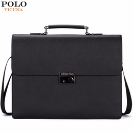 Wholesale Briefcases Lock - Wholesale- VICUNA POLO Famous Brand Business Men Briefcase Bag With Theftproof Lock Black OL Men's Handbag Luxury office maletin hombre