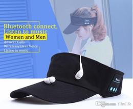 Wholesale Ear Cap For Cellphone - Music wide brim Bluetooth Sun Hat Wireless peaked Cap Fashion Sport Desgin Headphone Support Phone call Mic Handfree Headset for Cellphone