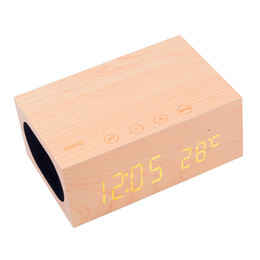 Wholesale Mobile Phone Trading - YCT-X5 wooden Bluetooth speaker LED display time temperature alarm clock can call creative Bluetooth speaker foreign trade gifts