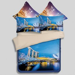 Wholesale Beautiful Quilt Covers - Beautiful Night Scene of The City Printed Bedding Set Quilts Duvet Cover Flitted Bed Sheet 3D View Pattern Bed Linen Bedclothes