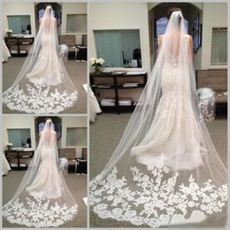 Wholesale bridal veils lace - Best Selling Chapel Length Bridal Veils with Appliques In Stock Long Wedding Veils 2017 Vestido De Noiva Longo Wedding Veil Lace Purfle