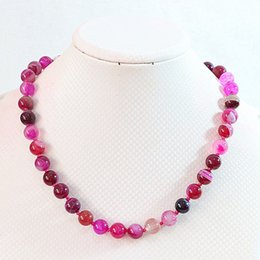"""Wholesale Silver Mm Bead Necklace - Free Shipping >>>>NEW Beautiful 10 mm Rose striped agate gemstone bead necklace 18 """"AAA++"""