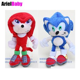 Wholesale Echidna Plush - New 2pcs Sonic The Hedgehog Knuckles the Echidna Plush Doll Anime Game Figure SEGA 23cm Kids Toys Baby Doll Brinquedos Blue Red Collection