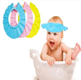 Wholesale Shower Shield For Kids - Wholesale- Adjustable Baby Hat Toddler Kids Shampoo Bath Bathing Shower Cap Wash Hair Shield Direct Visor Caps For Children Baby Care