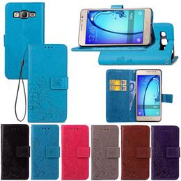 Billetera moleteada online-Funda billetera para Samsung Galaxy ON5 Lucky Four Leaf Knurling con clip Correa de mano Ranura para tarjeta Soporte para teléfono