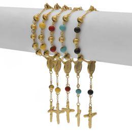 Wholesale 18k Gold Rosary - Hip hop Men Women Stainless Steel Gold Bead Bracelet With Jesus Cross Pendant Pulseras Rosary Bracelets Fashion Jewelry
