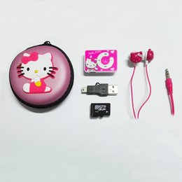 Wholesale Mini Box Watches - Wholesale- New Cartoon Hello Kitty MP3 Player Portable Clip MP3 Music Player Provide 4GB TF Card & Stereo Earphone & Box & Mini USB Cable