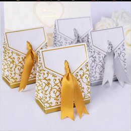 Wholesale Candy Shaped Favor Box Diy - Wedding Boxes Gift box Candy box DIY chocolate boxes favor holders Gold and silver color can choose 100pc set