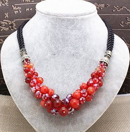 Wholesale Top Popular Necklaces - Luxury vintage top quality natural stones crystal beads necklaces for women popular party wedding jewelry 7colors