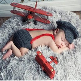 Wholesale Knitted Newborn Baby Clothes - Newborn Baby Photography Props Hat Pant Clothing Set Infant Knit Crochet Costume Soft Outfits+Pants Baby Clothing Photo Wear
