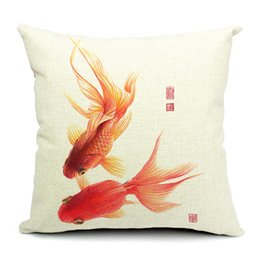 Wholesale Chinese Throw - 1 Pcs Cotton Linen Square Design Throw Pillow Case Decorative Cushion Cover Pillowcase Chinese Goldfish Style