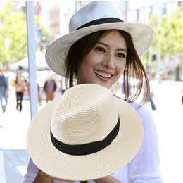 Wholesale Grass Shades - Panama straw hattide hat eaves Korean wild sun sunset sun shade beach woman summer beach new