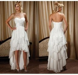 Wholesale Western Dress Up - New Arrival Hi-Lo Chiffon Beach Wedding Dresses 2017 Cheap Beaded Sash Sweetheart Country Western Wedding Bridal Gowns