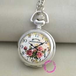 Wholesale Enamel Flower Pocket Watch - Wholesale-wholesale buyer price good quality silver enamel picture colorful flower pocket watch necklace antibrittle hour clock chain