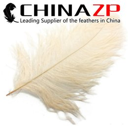 Wholesale Cream Ostrich Feathers - Made in CHINAZP Factory 45~50cm(18~20inch) Length Cheap Good Quality Dyed Cream Ostrich Wing Drab Feathers