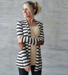 Wholesale Leather Elbow Patches - Wholesale-Black and White Striped Elbow Patching PU Leather Long Sleeve Knitted Cardigan Slim Spring Autumn Women Sweater