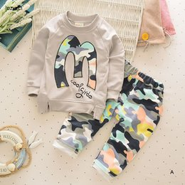 Wholesale Baby Girl Camo - 2017 Spring Autumn Baby Boy Girl Sets Clothes New Year Costumes For Kids Camo T Shirt+Camouflage Pant 2PC Suit Coming Home Outfit