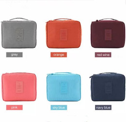 Wholesale Red Toiletries Bag - 2017 Fashion Gena travel Make Up Cosmetic Storage Trunk Zipper Bag Case Women Men Makeup Bag Toiletries Travel Kit Jewelry Organizer Handbag