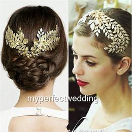 Wholesale Leaf Tiara - New Arrival Baroque Tiara Vintage Gold Leaf Hair Accessory Bridal Headpieces Headwear Wedding Tiaras Crown Hair Jewelry Women Accessories
