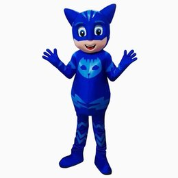 Wholesale Party Mask Making - New PJ Mask Blue Catboy Mascot Costume Fancy Party Dress Halloween Costumes Adult Size with High Quality Free Shipping
