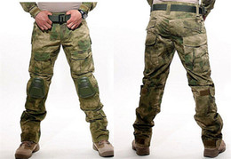 Wholesale Tactical Camo Uniforms - Tactical Combat Pants Multicam Frog Uniform Trousers Camouflage Army Pants Airsoft Camo Paintball Pants with Knee Pads