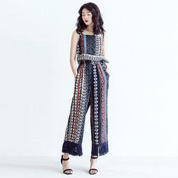 Wholesale Woman Korean Short Pants - 2017 Spring Summer Fashion New Blue O-neck Printing Vest And Elastic Tassels Wide Leg Pants Korean Set Suit Woman E22417