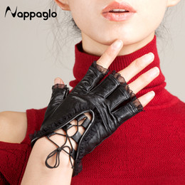 white leather gloves half Coupons - Wholesale- Nappaglo Fashion Women Half Finger Genuine Leather Gloves Lambskin Lace Sexy Mittens Sexy Ladies Dance Driving Gloves Sheepskin