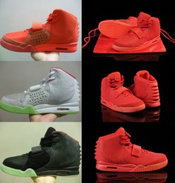 Wholesale Roman Blue - Top Quality Kanye West II Red October Black Solar Red Glow In The Dark With Roman Fashion Men Basketball Shoes Sneakers