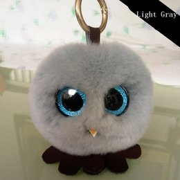 vrai hibou Promotion Cute Christmas Fluffy chick Rabbit Fur Pom Pom Porte-clés Ring Femme Real Rabbit Fur Owl Bag Charms Keychain Homme Car Keyring Jewelry Gift