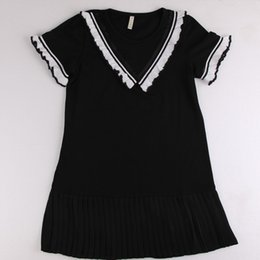 Wholesale Kids Leisure Shorts - Kids Clothing Girls Clothes High Quality Round Collar Black White Ruffled Sleeve Pleated Dresses Beautiful Comfortable Fashionable Leisure
