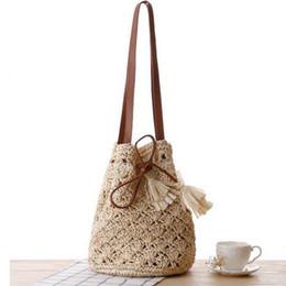 Wholesale Bohemian Purses - Straw Bucket Bag Tassel Summer Beach Handbag Bohemian Women Tote Woven Travel Shopping Bag Purse J134