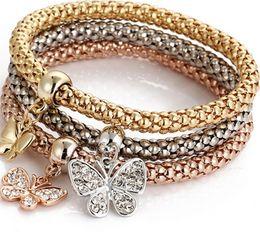 Wholesale crystal butterfly bangle bracelet - 3pcs set Stretch butterfly Heart Anchor bracelet armlet upper arm cuff for women punk rock crystal bangle antique Bronze plated NE736