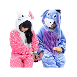 Wholesale Flannels Clothing - cute kids one-piece pajamas cute hello kitty donkey robe sleepwear for 3-10yrs children boys girls onesie pajamas night clothes