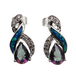 Wholesale Opal Stud Earrings Sterling Silver - 925 Sterling Silver Stud Earrings Choose Your Style Hermosa Origin Stone Natural Gemstone Blue Opal Women Genuine Topaz