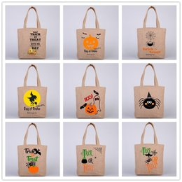 Wholesale Candy Gifts Baskets - Halloween Yellow Linen Bags Candy Gift Sack Treat Trick Pumpkin Printed Bat Basket Bag Children Party Festival Gift Packing Handbags HFB02