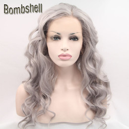 Wholesale Heat Resistant White Wig - Bombshell Silvery Grey Long Body Wave Synthetic Lace Front Wig Glueless Heat Resistant Fiber Natural Hairline For Black White Women Stock