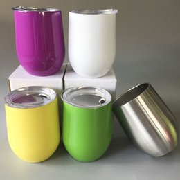 Wholesale Double Wall Color - HOT 9oz Stemless Wine Egg Cups with Lid Tumblers Double Wall Stainless Steel Vacuum Insulated Beer Mug 9 Oz Tumblers Cup