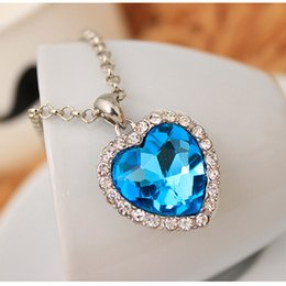 Wholesale Crystal Heart Ocean Titanic - Crystal Heart Pendant Necklace Classic Titanic Ocean Crystal Heart Pendant Necklace Rhinestone Lover Gift
