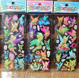 Wholesale Sticker Foam Sheets - 100 sheets faerie Tinker Bell 3D cartoon puffy stickers birthday party Gift Cute Stickers for Boy Girls Decorative Beautiful Foam Gift
